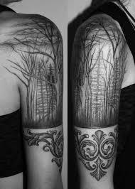 half sleeve grey ink forest tree golfian com