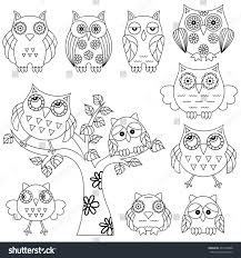 set various ornamental owl owls on stock vector 464216888