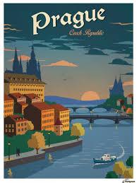travel posters images Prague czech republic travel poster vintage poster canvas jpg