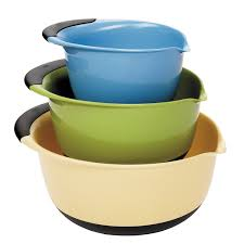 designer kitchen utensils furniture accessories colorful 3 pieces plastic mixing bowl