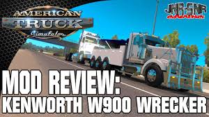 truck wreckers kenworth american truck simulator kenworth w900 wrecker mod review youtube