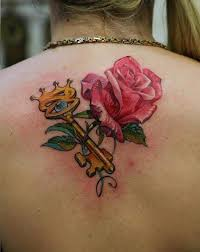 crown key n rose tattoo on back in 2017 real photo pictures