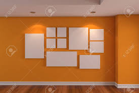 Orange Walls Empty Interior Room Gallery The Picture On The Orange Wall