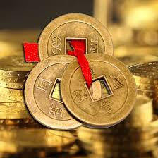divya mantra feng shui three lucky chinese coins with red ribbon