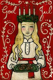 print st lucia 8x10 swedish christmas god jul
