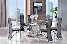 channel dining set with 6 black chairs i modern furniture direct