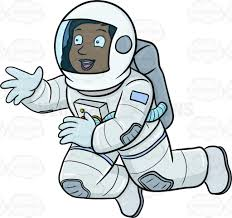 a happy black female astronaut seeing something interesting while