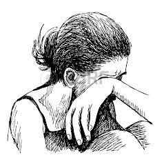 human emotion sketch sad hand drawn on white background