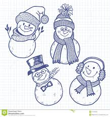 four cute snowman vector illustration sketch isolated stock