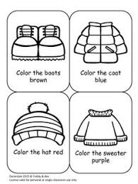 winter clothes coloring sheet note add a period at the end of