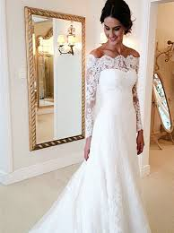 ivory lace wedding dress buy mermaid the shoulder court ivory lace sleeves