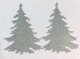 winter christmas tree glitter stickers 4 size glistening snow