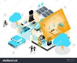 energy efficient home beautiful isometric design energy efficient home stock vector