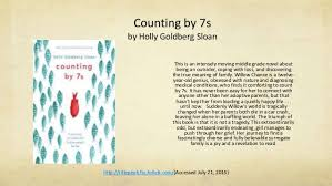 Counting By 7s Book Report Nancy Peterson C R Middle