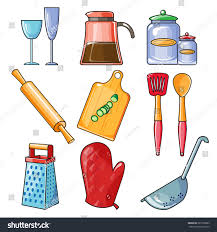 set kitchen utensil collection cookware icons stock vector
