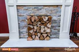 stacked wood fireplace cover