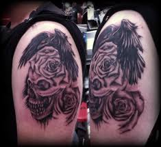 skull roses crow raven stopwatch cross tattoo by
