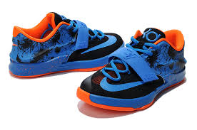 nike kd 7 shoes black blue orange for sale