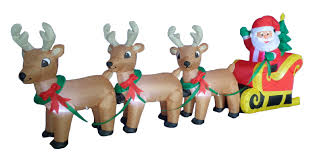 three posts santa claus on sleigh sled indoor