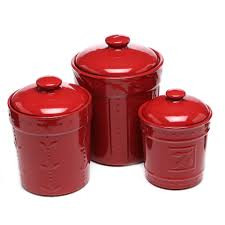 kitchen 3 piece sorrento canister u0026 lid set with sorrento ruby