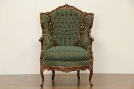 French Wingback Chair Sold Carved 1940 U0027s Vintage French Style Wing Chair Harp
