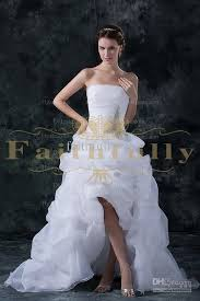 high low ruffle wedding dress discount hi lo wedding dresses bridal gowns a line strapless