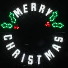 Home Depot Christmas Lawn Decorations by Red Green White Led Message Merry Christmas Wreath 7407437uho