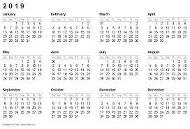 2019 calendar template yearly printable calendar