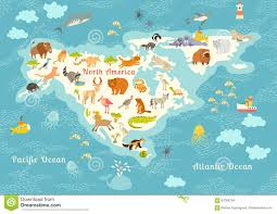 Map Of America Continent by Cartoon North America Continent Map Stock Vector Image 61953501