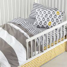 not a peep toddler bedding grey stripe the land of nod