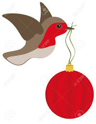 a robin in flight with a red christmas bulb royalty free cliparts