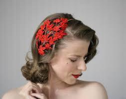 1950s headband velvet fascinator fall leaf headband 1950s hair