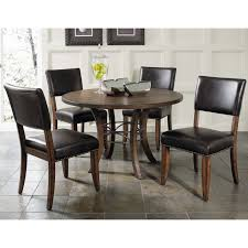 hillsdale cameron 5 piece round wood dining table set with parson