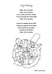 worksheet my family song