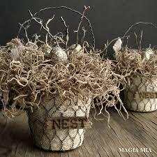 Chicken Wire Chandelier Magia Mia Rustic Elegant Nest Baskets With Peat Pots U0026 Chicken