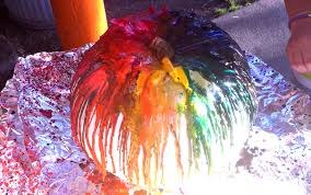incultureparent rainbow pumpkin craft with melted crayons