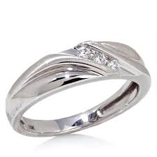 10k white gold wedding band 10k white gold slant band wedding ring with 3 diamond accent