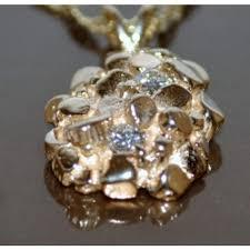 custom charms nugget charm pendant solid 14k custom made with 2 real diamonds 0 20ct