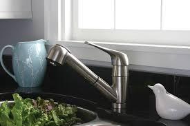 shop premier faucet sonoma brushed nickel 1 handle pull pull out kitchen faucet premier faucet