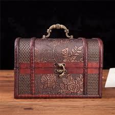 vintage style wooden embossed flower pattern jewelry treasure box