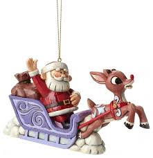 enesco jim shore rudolph with santa sleigh hanging ornament
