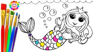 coloring book for nursery how to draw mermaid and coloring with markers and watercolor
