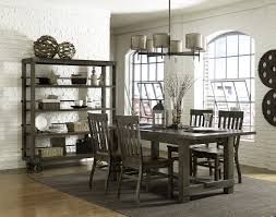 dignified dark brown modern dining room set with classy curio