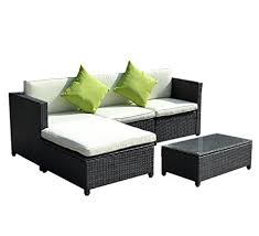 Rattan Settee Amazon Com Goplus Outdoor Patio 5pc Furniture Sectional Pe