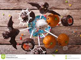 Halloween Pop Cakes Halloween Pop Cakes On A Table Close Up Horizontal Top View Stock