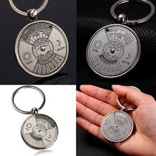 unique keychain 2017 mini perpetual calendar keychain ring unique metal 50 years