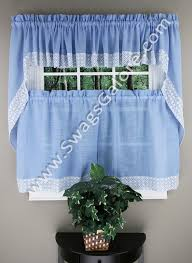 Blue Swag Curtains Salem Kitchen Curtains Blue Lorraine Kitchen Country Curtains