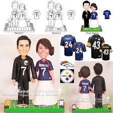 football wedding cake toppers broncos and steelers football wedding cake toppers
