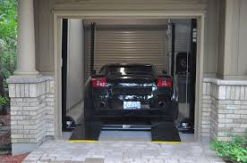in a garage car lift garage 4 post car lift