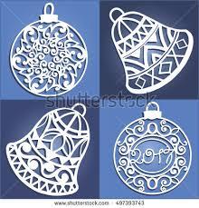 set openwork christmas decorations laser cut stock vector